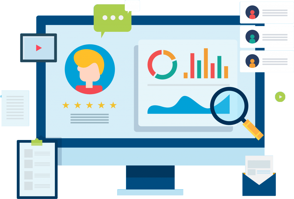 Customer profile analysis, client database, crm system, customer management, business development concept.